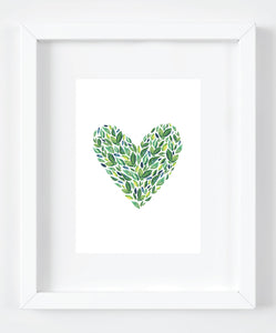 Green Watercolor Leaves Heart Art Print