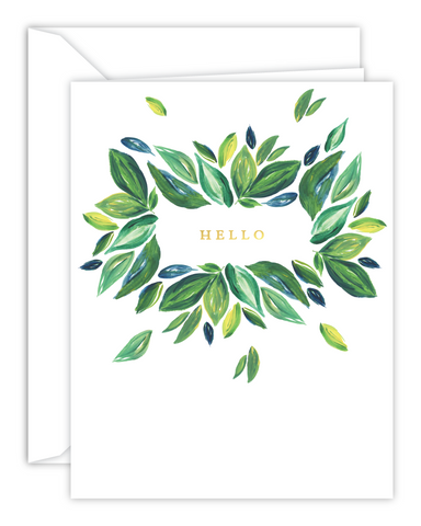 Green Leaves Hello Watercolor Card