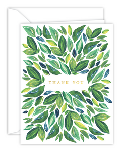 Green Leaves Thank You Watercolor Card
