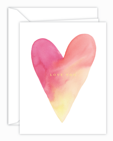 Love You Watercolor Heart Card