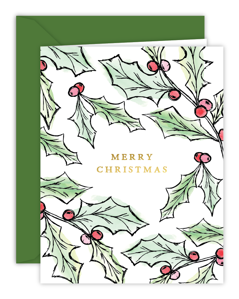 Merry Christmas Watercolor Holly Christmas Card