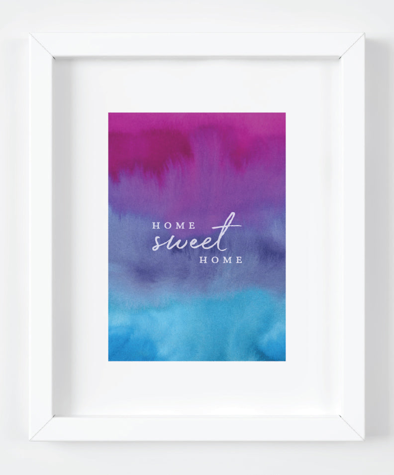 Home Sweet Home Purple Watercolor Art Print