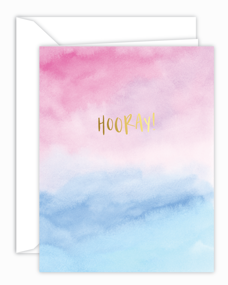 Hooray! Pink and Blue Watercolor Card