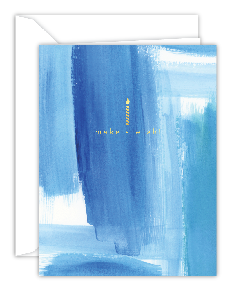 Make A Wish Blue Watercolor Birthday Card