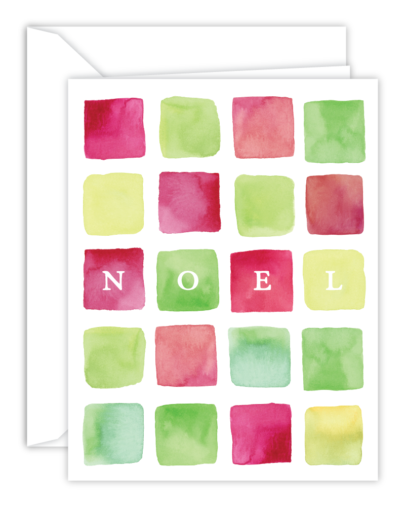 NOEL Watercolor Squares Christmas Card