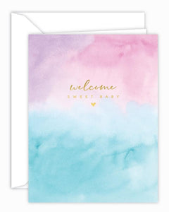 Welcome Sweet Baby Watercolor Card