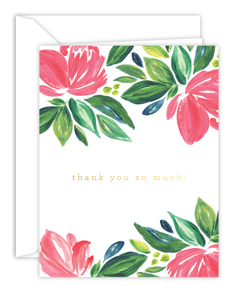 Thank You So Much! Pink Watercolor Floral Card