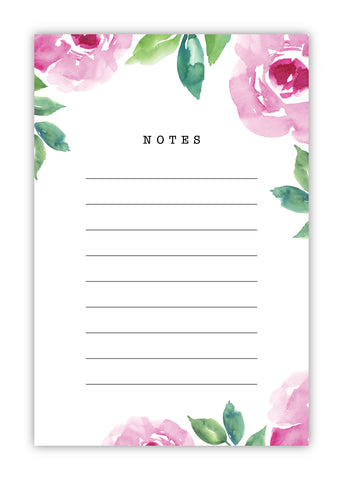 Pink Floral Watercolor Notepad