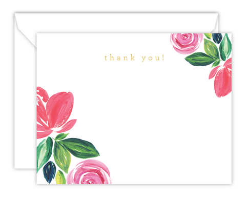 Pink Floral Watercolor Thank You Note Cards
