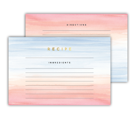 Pink + Blue Watercolor Recipe Cards