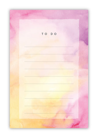 Pink and Yellow Watercolor Notepad