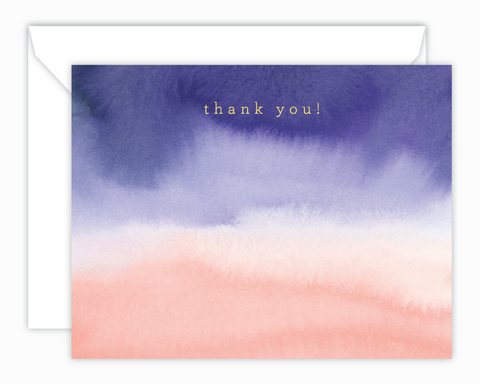 Purple + Coral Watercolor Thank You Note Cards