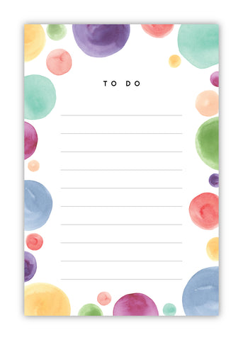 Rainbow Watercolor Dots Notepad