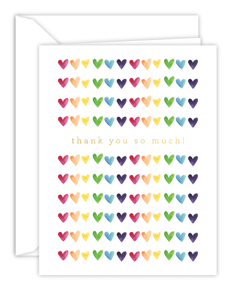 Thank You So Much! Rainbow Watercolor Hearts Card