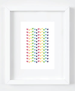 Rainbow Watercolor Hearts Art Print