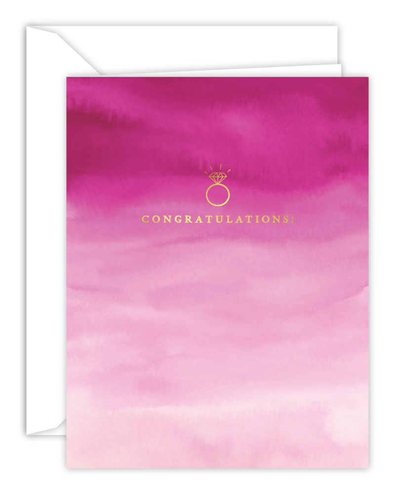 Congratulations! Engagement Ring Pink Watercolor Card