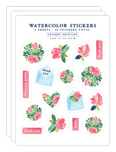 Floral Watercolor Sticker Sheets