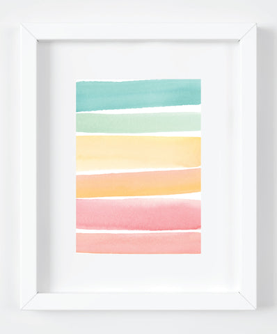 Sunset Watercolor Stripes Art Print