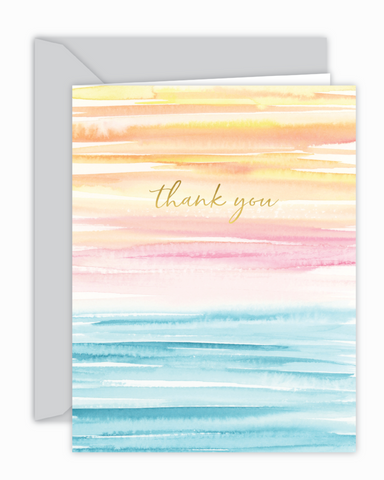 Thank You Sunset Watercolor Wash Card