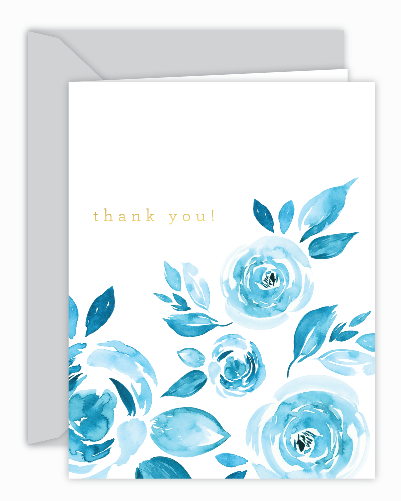 Thank You! Blue Watercolor Floral Card