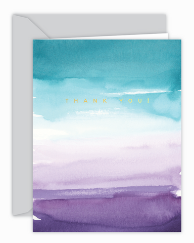 Thank You Teal and Purple Watercolor Card