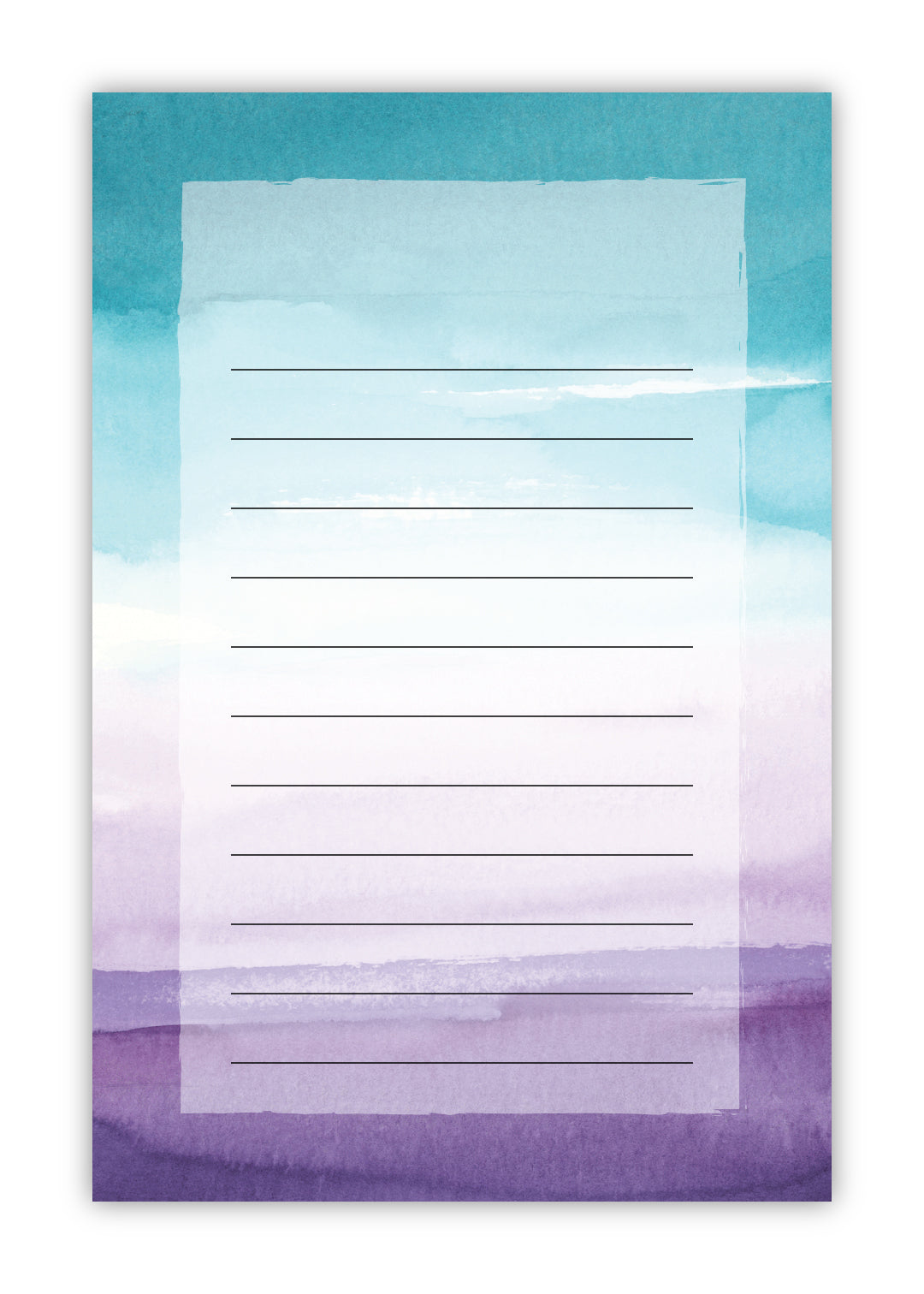Teal and Purple Watercolor Notepad