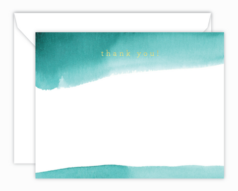 Teal Watercolor Stripes Thank You Note Cards