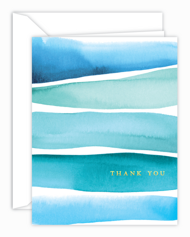 Teal Stripes Thank You Watercolor Card
