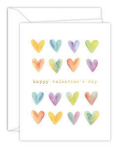 Happy Valentine's Day Watercolor Hearts Card