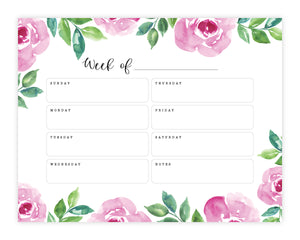 Pink Floral Watercolor Weekly Desk Notepad
