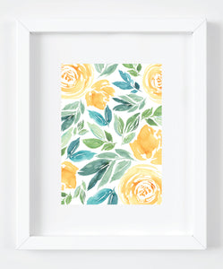 Yellow Floral Watercolor Art Print