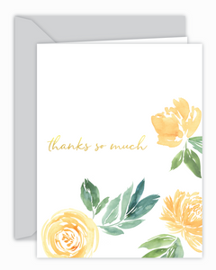 Thanks So Much Yellow Floral Card