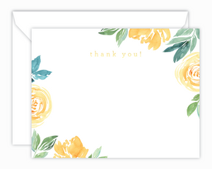Yellow Floral Watercolor Thank You Note Cards