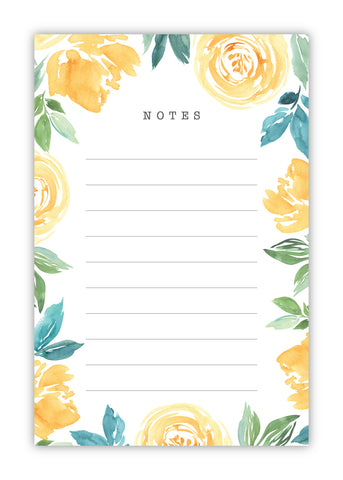 Yellow Watercolor Floral Notepad