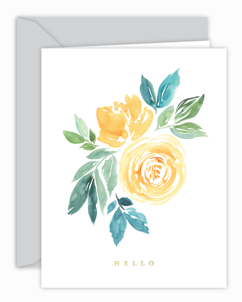 Hello Yellow Watercolor Floral Card