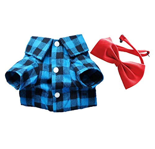 Red and Black Plaid Dog Shirt with Bow Tie
