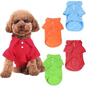 4 Pack Dog Shirts - Solid Colors