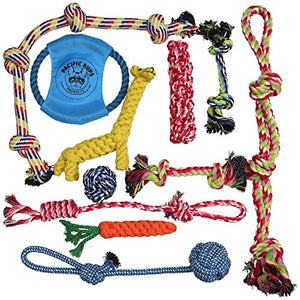 Dog Rope Toys for Aggressive Chewers - Set of 11 Nearly Indestructible Dog Toys