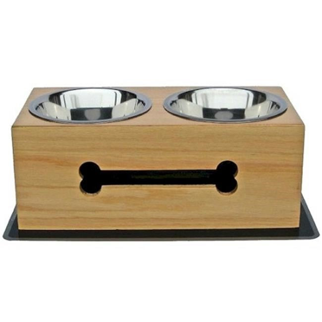 Wooden Bone Elevated Dog Bowls