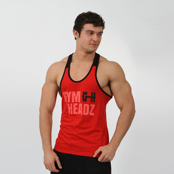 Gymheadz Panelled Stringer - Red & Black