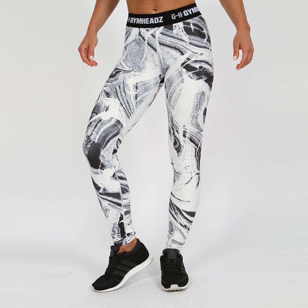 Gymheadz Impact Leggings - White & Black