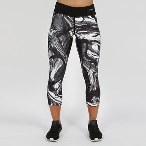 Gymheadz Impact Cropped Leggings - Black & White