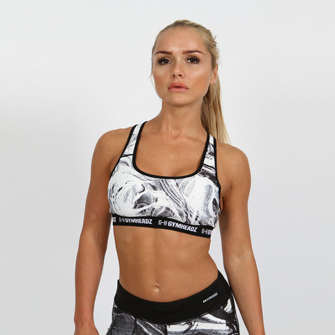 Gymheadz Impact High Support Bra - White & Black