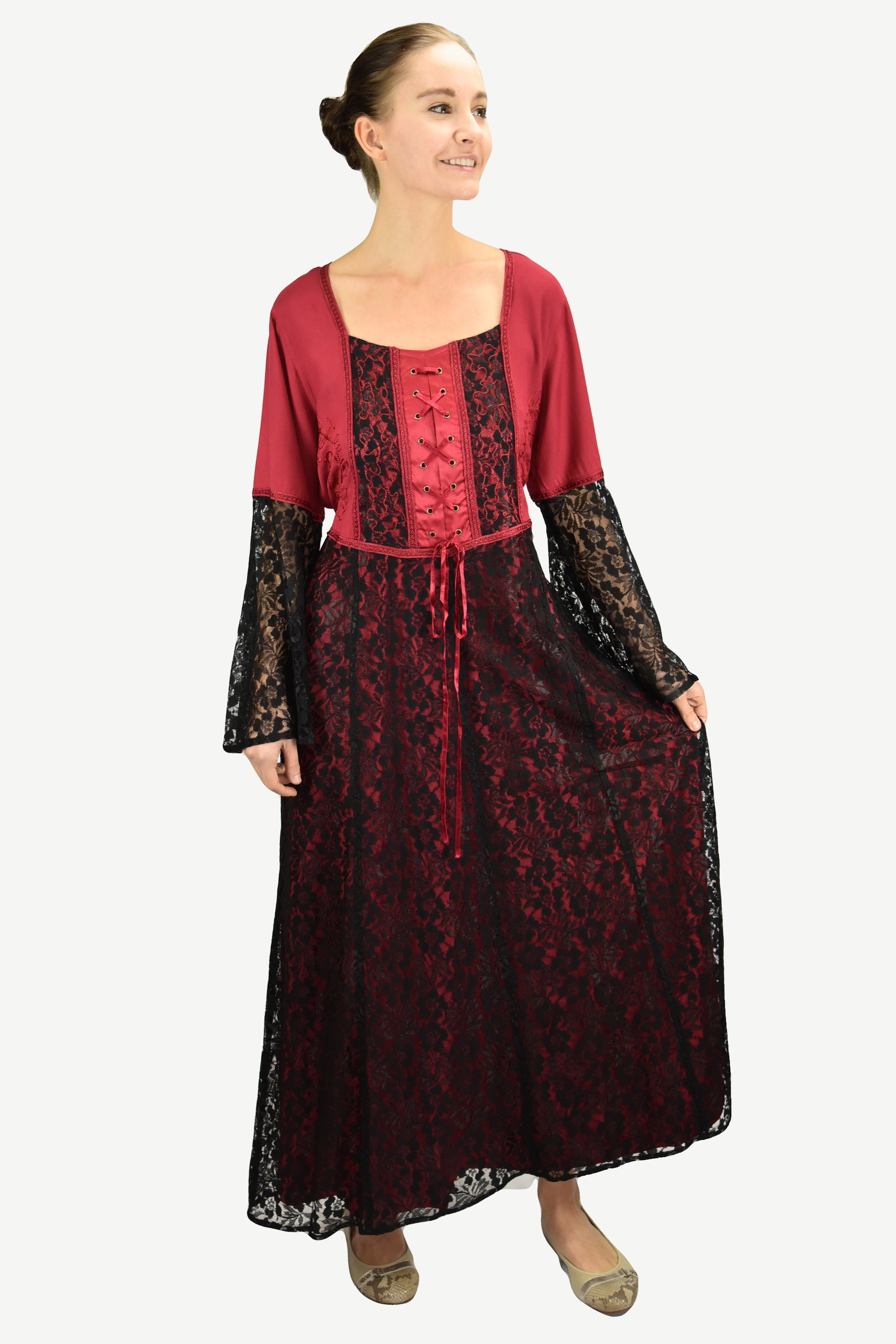 e9aef3447c1 Medieval Vintage Corset Lace Two Tone Renaissance Dress Gown - Agan  Traders