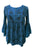 03 B Boho Medieval Embroidery Round Neck Blouse Top - Agan Traders, Blue