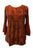 03 B Boho Medieval Embroidery Round Neck Blouse Top - Agan Traders, Orange Rust