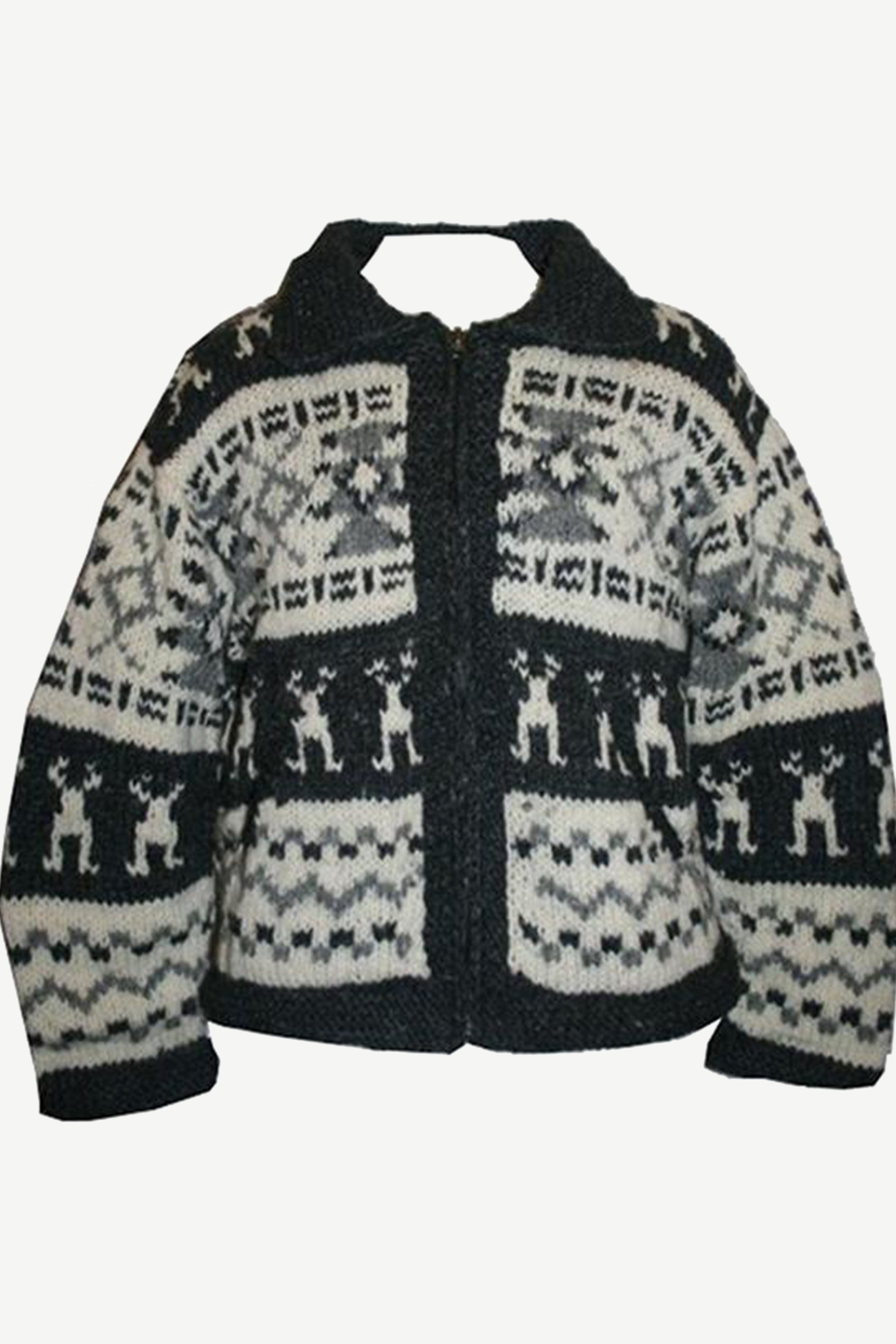 WJ 08 Nepal Highland Sherpa Lambs Wool Knitted Cardigan Sweater