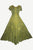 Rayon Embroidered Flare Gothic Corset Dazzling Dress Gown - Agan Traders, Olive