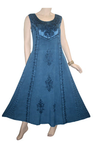 Rich Elegant Satin Blend Renaissance Sleveless Summer Sun Dress Gown - Agan Traders, Blue