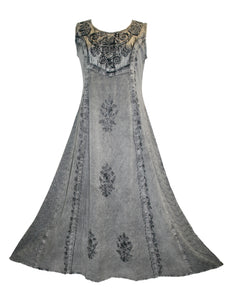 Rich Elegant Satin Blend Renaissance Sleveless Summer Sun Dress Gown - Agan Traders, Silver